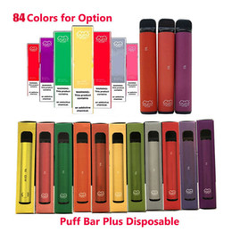 Akku batterie online-84Colors PUFF BARS PLUS 800 + Puff Einweg-Pod Cartridge 550mAh Akku 3,2 ml Pre-Filled Vape Pods Stock-Art-e Zigarette vs puff xxl Knall