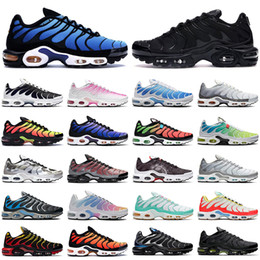 Zapatillas azules online-nike TN air max Plus SE shoes hombre zapatos para correr triple negro blanco rojo Gafas 3D Hyper blue Spray paint mens trainer zapatillas de deporte transpirables