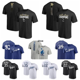 T-shirt uomo di baseball online-Los AngelesDodgers Men # 50 Mookie Betts 35 Cody Bellinger 22 Clayton Kershaw 5 Seager 2020 Campione della serie World Baseball T-shirt