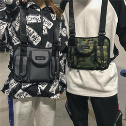 Lona pochete preta on-line-Mulheres Fanny Nylon Harness Chest Rig cintura pack Kanye West Punk Canvas Peito Bolsas dos homens negros Hip Hop Streetwear Tactical Bag 503