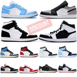 Cinzentos sapatos de corte on-line-Com Box 36-47 Smoke Light Gray Zoom Racer azuis Tie Dye Travis Scotts 1s Mens tênis de basquete UNC Torça Obsidian 1 Sports Sneakers
