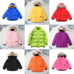 mädchen grüne parka jacke Rabatt Childs PBI CG Expedition Daunenjacke Jungen Mädchen Kinder Winter Hoodies Daunenmantel Warme Kanada Blau Grün Rosa Gelb Youth PBI Expedition Parka