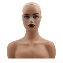 teste di mannequin realistiche Sconti Wig Stand PVC Training Mannequin Heads Realistic Half Body Double Shoulder for Display Wigs Hat Jewelry