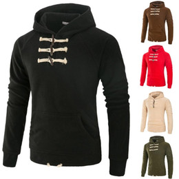 Chifres on-line-Hoodies Chifre Buckle Decore Casual Homens de Moda manga comprida Pullover Homens cor sólida Corduroy Moletons Literary Streetwear