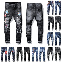 Denim stretch jeans en Ligne-Badge Hommes Rips 21 et suiv stretch Designer Jeans Distressed Ripped Biker Slim Fit Washed Hip Hop Fashion Pants Man Motorcycle Denim Homme