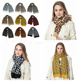 женщины вязания крючком шерстяной шарф Скидка Women Winter Wool Knitted Scarf Fashion Leopard Print Knitted Scarves Outdoor Wool Crochet Warm Windproof Shawl Party Favor 9colors RRA3745