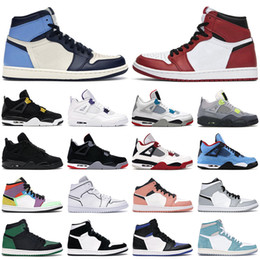 2020 retro rosso 4s air jordan 1 retro 4 basketball shoes Scarpe da basket 1s high OG uomo donna jumpman mid Chicago Obsidian Twist 4s Fire Red Bred Black Cat uomo scarpe da ginnastica sneakers retro rosso 4s economici