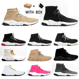 Chaussures de chaussette en Ligne-2021 speed lace-up 2.0 trainer men women sneakers trainers Black Red White Beige Pink Clearsole mens fashion tennis shoe jogging walking