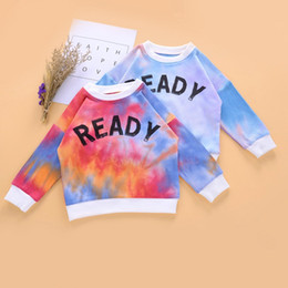 Gedruckte krawattenfarbt-shirts online-Baby Boy Girl Knit Sweatshirts Long Sleeve T Shirt Letter Ready Printed Autumn Tie Dye Kid Clothes New