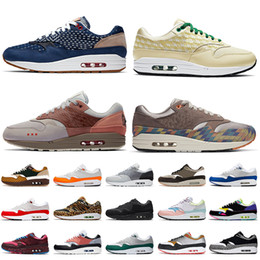 2021 neue laufende mode schuhe nike schuhe Nike Air Max 1 STOCK X 2021 New Fashion Denham 1 Limonade Amsterdam N7 Taupe Haze Laufschuhe London Evergreen Aura Magma Orange Damen Herren Turnschuhe