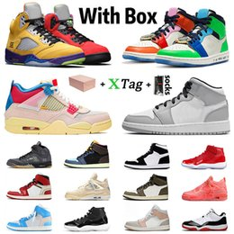 Zapatillas altas blancas de hombre originales. online-Con caja Stock x Zapatos Nike Air Retro Jordan 1 Jordans off White Sail 4 Jumpman Basketball Shoes 1s Mid Hombres mujeres what the 5 Concord High 11 Trainers Men Sports Sneakers