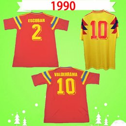 futbol colombia Rebajas # 10 ValderRama Guerrero Colombia 1990 Retro Soccer Jersey Away Red Classic Conmemorar la colección antigua Vintage Home Yellow Football Shirt