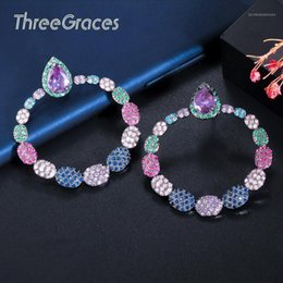 Pendientes de aro gotas de agua online-Threebraces Luxury Water Water Drople Big Hoop Pendientes para las mujeres Party Fashion Rainbow Cubic Zircon Boho Jewelry ER4611