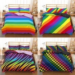cama colorida define rainha Desconto Homesky do arco-íris impressão Bedding Set Colorful Stripe Consolador Bedding Set 100% Microfibra Lençois Rei Queen Size Roupa de cama 1012