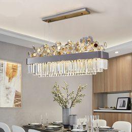 Restaurant Dining Decorating Linear Square Modern Crystal Rectangle Chandelier Droplight LED Lamp