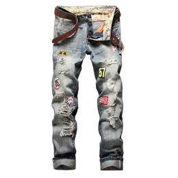 Patch jeans para homem on-line-2020 Hot Sale Comprimento Europa E América Marca Robin Hetero emblema tigela para Hole In completa mediana Patches Zipper Jeans Men Mens