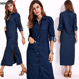 Jeans robe en Ligne-Gaeoke Femmes Plus Taille Jeans Robe Spring longue manches à manches longues Collier Maxi Robe Femme Femme Femme Vestidos 739093