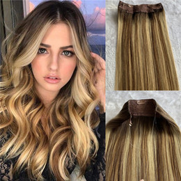 extensions de cheveux blonds Promotion Halo Hair Extensions Machine 100% Remy Human Hair One Pieces Clip in Extensions Highlights Blonde Invisible Fishing Wire with 4 Clips 100g