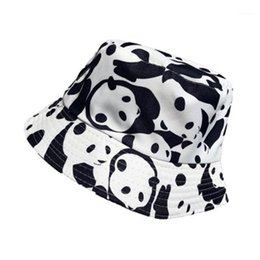 Sombreros del cubo de hiphop online-2020 New Panda Print Bucket Hat Fishman Hat Outdoor Travel Sun Hiphop Cool Cap Sombreros para las mujeres H21