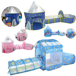 túnel infantil ao ar livre Desconto Kids Tent House Play Toys Tunnel Crawling Playhouse Castle Portable Children Ocean Ball Pool Pit Baby Folded Indoor Outdoor Game LJ200923
