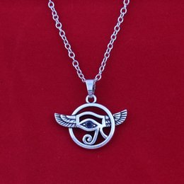 Sterling silver eye of horus pendant necklace on leather cord thong gothic
