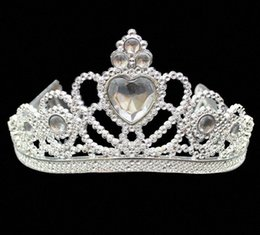 Promenade di colore rosa fascia online-XMAS Cosplay Princess Kids Crown Plastic Tiara Birthday Party Favor Girls Silver Resin Heart Crystal headbands Pageant Prom gift qE0s#