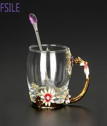 Creative enamel water cup household coffee cup soft girl cup girl heart crystal glass juice cup flower tea cup