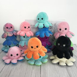 Bonitos animais de pelúcia on-line-Reversible Flip octopus Plush Stuffed Toy Soft Animal Home Accessories Cute Animal Doll Children Gifts Baby Companion Plush Toy