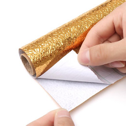 Nuovi mobili d'argento online-NEW 100CM Self-adhesive DIY Wallpaper Silver Gold Color Furniture Stove Oil-proof Waterproof Aluminum Foil Kitchen Stickers