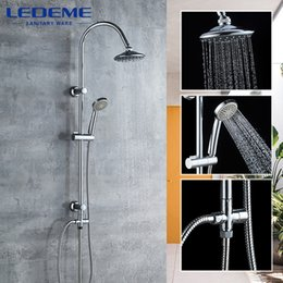 2021 cabeça de chuveiro com cabo  LEDEME Banho Set torneira do chuveiro Rainfall Shower Head Tub Spout Torneiras Single Handle Mixer Tap Bath Shower L2412 1011