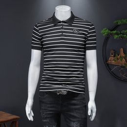 Polo in piqué di cotone online-2021 Primavera Nuova T-shirt a maniche corte in cotone Mercerrized Pique Business Business casual Boutique Boutique a strisce Polo Polo Top Tendenza