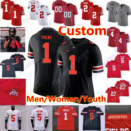 costume marrom camisa Desconto Personalizado Ohio State Buckeyes Football Jersey Garrett Wilson Justin Campos George Teague III Chris Olave Julian Fleming Browning Wade Mulheres Criança