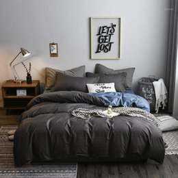 Set di biancheria da letto king size online-New Grey Plaid Biancheria da letto Set di biancheria da letto in cotone Color Blive Modern Letto Comforter Queen King Size 4 Pz Duvet Cover Sheet Set1