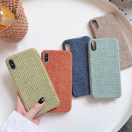 Caso de chamada on-line-Cloth Flannel Plaid Case For iPhone 11 Pro Max XS XR X 6 6S 7 8 Plus SE 2020 Candy Color Call Phone Protection Cover
