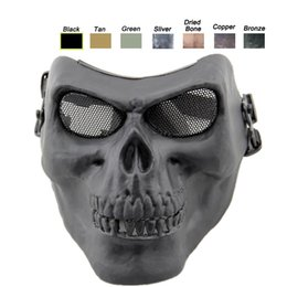 Airsoft schädel halb gesichtsmaske online-Schießausrüstung Schutz Cosplay Outdoor Half Face Gear Taktische Airsoft Skull Skeleton Mask