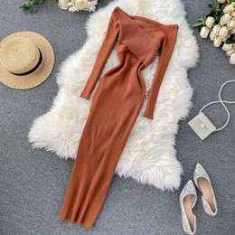 Camisolas elegantes para mulheres on-line-Slim 2020 Off Ombro Criss Autumn Knit Sweater Midi Vestido Longo Bodycon Party Winter Mulheres Sexy Casual Elegante Vestidos