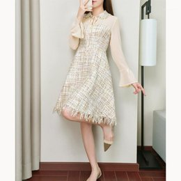 2021 vestidos de lana a cuadros de las mujeres Spring Women Mesh Patchwork Tweed Dress Flare Sleeve Plaid Ruffles Wool Blends Dress High Cintura Una línea Tassel1