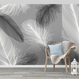 Роспись обои черный белый онлайн-Nordic Style Black And White Feather Mural Wallpaper 3D Abstract Art Living Room Bedroom Home Decor Wall Papers Papel De Parede