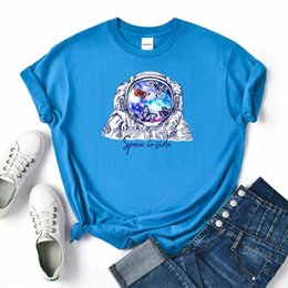 Camicia donna spaziale online-Astronauta Butterfly Space all'interno di T-shirt Donne Vintage Sweat T-shirt Summer Oversize Abbigliamento Abbigliamento Scelto Camicia da donna allentata # DG4O