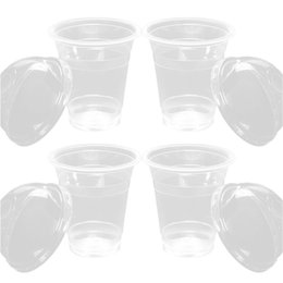 10pcs set Clear Disposable Plastic Cup Coffee Cups with Lids 450ml for Iced Coffee Bubble Boba Smoothie