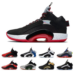 Zapatos de baloncesto para niños online-Centro de gravedad Jumapman 35 Shoes de baloncesto para hombre DNA Criado Negro Oro Red Bayou Boys Sisterhood 35s Trainers Men Sports Sneakers 40-46