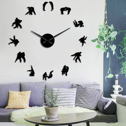 Relojes de pared sin marco online-Japonés Martial Training Wall Art Decor Decor Player Silhouette DIY BRAND WALL RELOJ RELOJ DERUCTOR FRAMELESS EFECT EFECT WALL WALD 20118