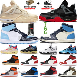 Chaussures hommes de vache en Ligne-1 Haut Travis Scotts sans Peur Panda Obsidian Mens chaussures de basket-ball Racer Bleu UNC Voile Noir Cat Bred 4 4s Banned Bred Toe Men Sport Sneaker