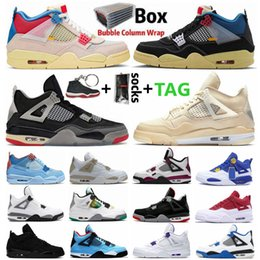 Union schuhe online-Guava Ice Sail Black Cat Union 4 4s Herren Frauen Jumpman 4 Basketballschuhe gezüchtet, was der Cacutus Jack lila metallische Sportturnschuhe