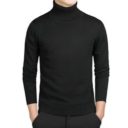 Bleu col roulé hommes pull en Ligne-Turtleneck Cotton Sweater Men Pullovers Brand Casual Autumn Fashion Sweater Male Solid Slim Fit Knitted Long Sleeve Blue Black 201125