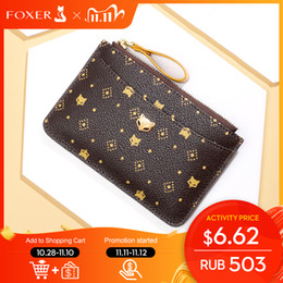 Autobus luci online-FOXER PVC Leather Holder Women's Mini Coin Packet Ladies Key wallet Small Bus ID Card Bag Retro Light Clutch Purse Q1106