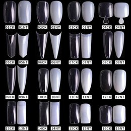 2021 faux ongles ronds 100 / 500pcs Pro White Clear V Coffin de ballet de ballet double / demi acrylique French Faux ongles Conseils faux Toenail Tip manucure