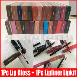 Lippe glossen online-8 Farben Lip Make-up-Kit Flüssigkeit Matte Lippenstift Lipliner Make-up Lip Gloss lipliner multi Farben Lipgloss Kosmetik