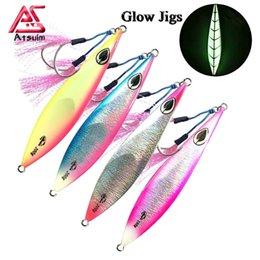 5Pcs Jiggings Glow Metal Jigs Lures 3D Eyes Slow Fall Fishing Sinking Lures