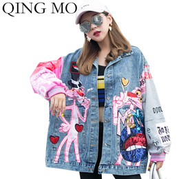 2021 giacca panther QING MO donne blu denim del rivestimento del cappotto 2019 donne Pink Panther Jacket con paillettes donne monopetto allentato Coat ZQY2288X1016